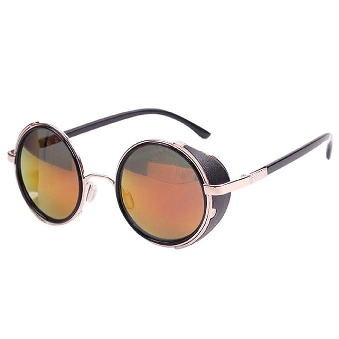 Xinantime Gafas Sol Unisex, Hombre Mujere Gafas Redondo Steampunk Vintage Retro (C)