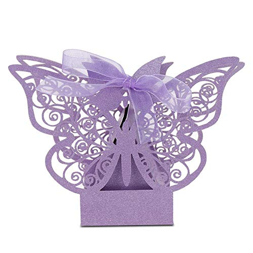 Zerodis 100 PCS Wedding Favor Box Multi-Color Cube Butterfly Candy Box Sugar Chocolate Foldable Boxes for Birthday Wedding Party Favor(Light Purple)