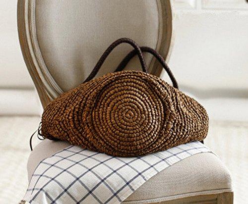 Brown Woven Leisure Beach Capacity Bag Shoulder Large Tonwhar String Bag Tote Paper wxA6Tqn7gP