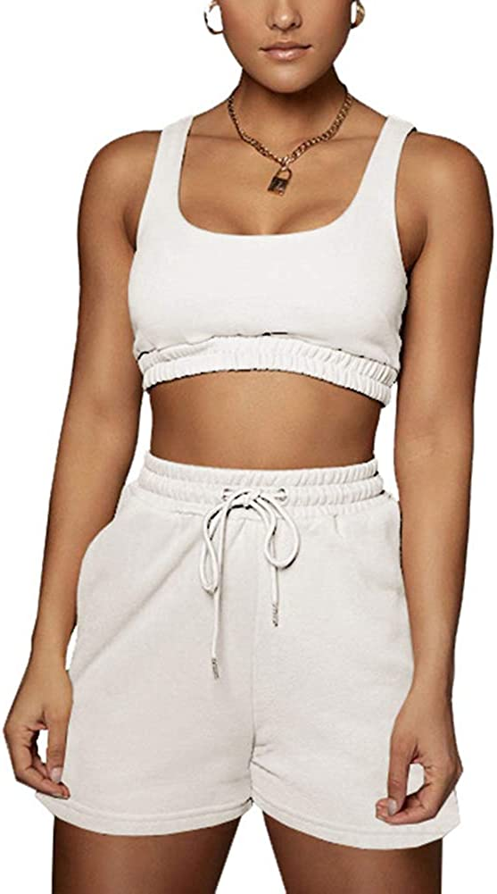 Womens Sexy 2 Piece Outfits Sets Reservation Sleeveless Tank New York Mall High Tops Crop