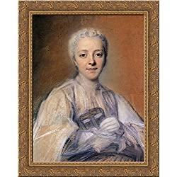 Jeanne Elisabeth de Geer, Baroness Tuyll 24x20 Gold Ornate Wood Framed Canvas Art by Maurice Quentin de La Tour