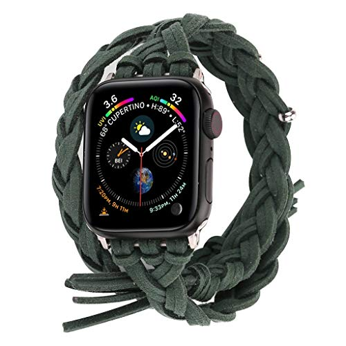 Cywulin Compatible with Apple Watch Band 40mm 44mm 38mm 42mm Soft Nylon Fabric Handmade Sport Loop NATO Woven Strap Replacement Breathable for iWatch Series 4 3 2 1 Women Men (38mm/40mm, Green) ()