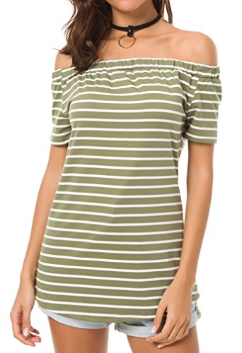 KAY SINN Plus Size Tops for Women Off Shoulder Striped Shirt Short Sleeve Tee 3X-Large Army Green