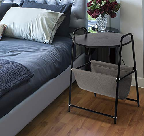 Qwork Round End Table Side Table Bedside Table Nightstand Laptop Desk Table with Storage Basket Stand Desk for Bed Sofa Couch, Black ()