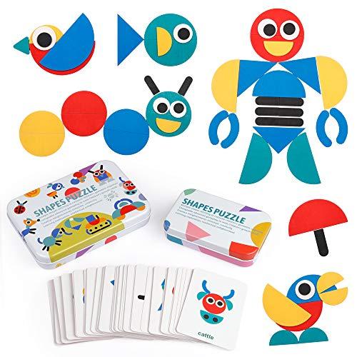 [해외]D-FantiX 원목 패턴 블록 동물 퍼즐 정렬 및 스태킹 유아를 위한 몬테소리 교육 완구 아이 소년 소녀 2 + 세 (36 모양 소품 및 철 상자에 60 개의 디자인 카드) / D-FantiX Wooden Pattern Block Animal Jigsaw Puzzle Sort and Stacking Game Monte...