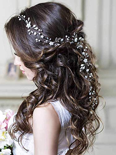 Aoprie Bridesmaid And Flower Hair Accessories Wedding Headband 19 7 Inches Crystal Pearl White Silver Headpieces Bridal Hair Vines For Women