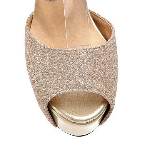 AllhqFashion Mujeres Material Mezclado Sólido Cremallera Peep Tacón de aguja Sandalia Gold