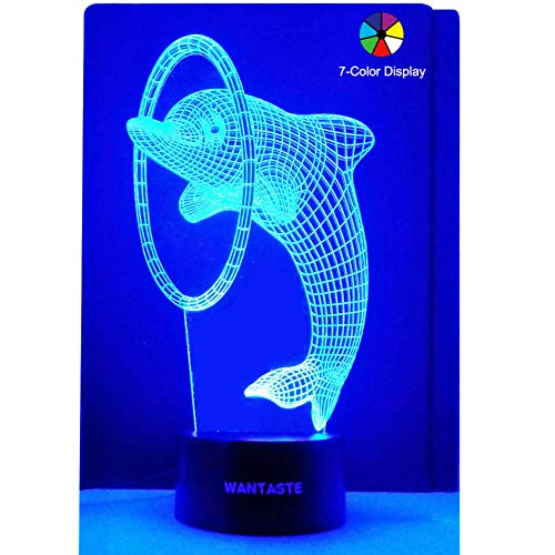 (WANTASTE 3D Dolphin Lamp, Optical Illusion Night Light, Gift & 7 Color Changing Toy for Girls & Boys)
