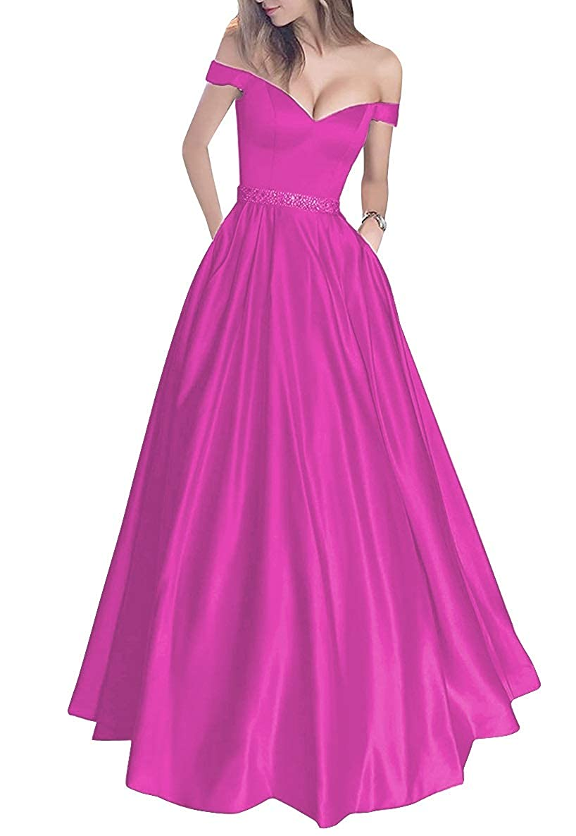 Fuchsia MorySong Women's Off Shoulder Long Prom Dress with Pockets Beading Evening Gown