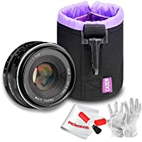 Meike 35mm F1.7 E Mount Manual Focus Prime Fixed Lens with Thick Protective Lens Bag and PERGEAR Lens Cleaning Kit for Sony E Mount Mirrorless Cameras NEX7 A6000 A6300 A6500