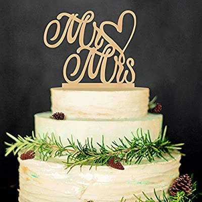 LINGPAR Mr and Mrs Cake Topper Wood Wedding Cake Topper Anniversary Party Decorations Favors