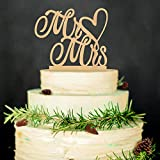LINGPAR Mr and Mrs Cake Topper Wood Wedding Cake Topper Anniversary...