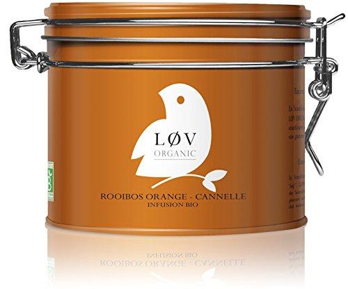 Løv Organic Orange Cinnamon Rooibos Tea - Orange Peels, Cinnamon, Lemon, Vanilla, and Seabuckthorn Organic Caffeine-free Infusion Perfect for Tea Lovers (100oz tin - Around 50 servings)