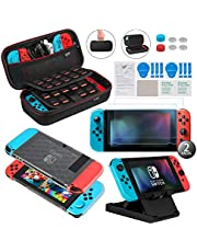 Keten 13 in 1 Accessory Kit for Nintendo Switch include Carrying Case / Switch Clear Cover Case / Adjustable Stand / Tempered Glass Screen Protector (2 Packs)
