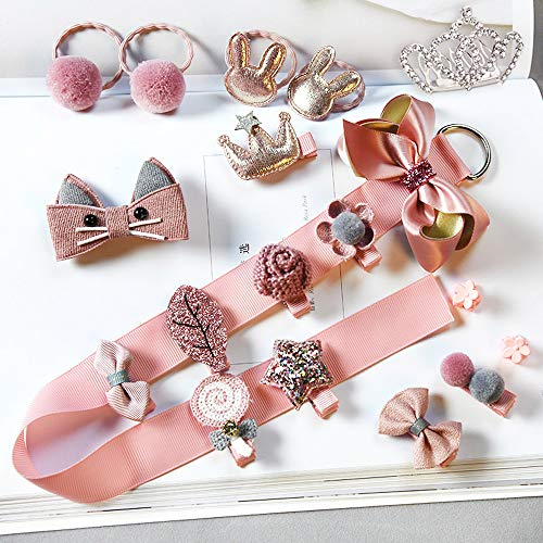 19pcs Gift Set Hair Accessories Baby Girl's Hair Clips Bows Barrettes Hairpins Set (Dark Pink) by Bonilo