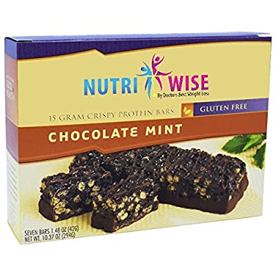 NutriWise - 15g Protein Diet Crispy Bars | Chocolate Mint | Low Calorie, Gluten Free, Low Fat, Low Sugar (7/box)