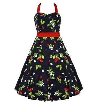 50's Cherry Halterneck Dress Red - 3XL = 16 (US), 20 (UK)