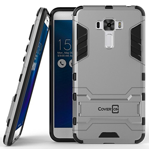Zenfone 3 Laser Case, CoverON [Shadow Armor Series] Hard Slim Hybrid Kickstand Phone Cover Case for Asus Zenfone 3 Laser ZC551KL - Silver/Black