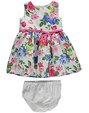 Carters Baby Girls Floral Sateen Dress