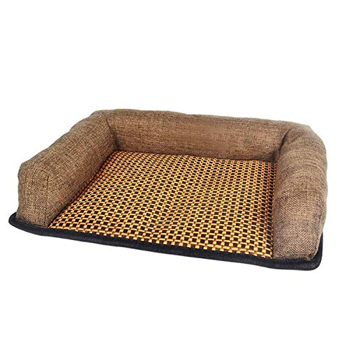 Summer Pet Dog Cooling Mat Rattan Dogs Cats Bed Mats Sofa Cushion Pets Summer Cool Mats Breathable Puppy Mat Bed House Wholesale,Coffee,S