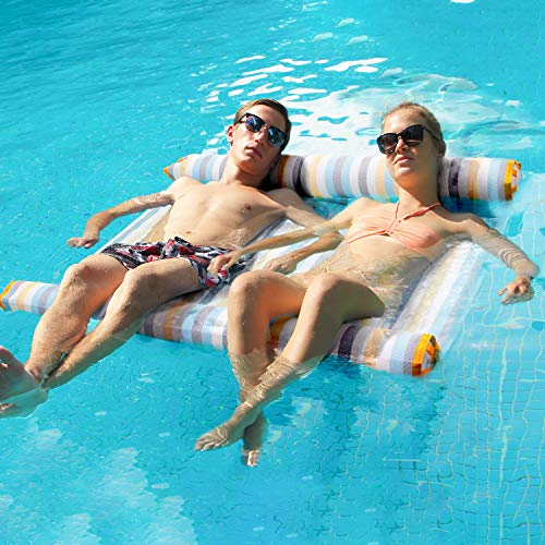 FindUWill 1-2 Person Hammock Float Portable Swimming Pool Lounge Inflatable Water Pillow Inflatable Hammock (Saddle, Lounge Chair, Hammock, Drifter) Portable Pool Float (Colorful)