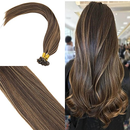 Youngsee Remy Straight Keratin Fusion U Tip Ombre Hair Extensions Human Hair Darkest Brown with Medium Brown Lowlight Fusion Glue Hair Extensions 50Stands 50G 20inch