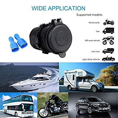 SenRan 3.1A Dual USB Charger Socket Power Outlet 1A & 2.1A(3.1A) for All 12-24V Voltage Vehicles, Such as Cars, Motorcycles, Bus Buses, Ships, Motor Homes, Yachts, Trailers, etc. (3.1A-Blue)