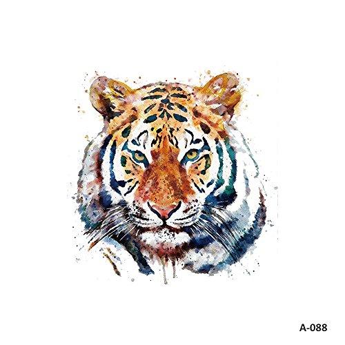 WYUEN 5 Sheets Watercolor Tiger Tattoo Waterproof Temporary Tattoo Sticker for Women Men Fake Body Art 9.8X6cm A-088