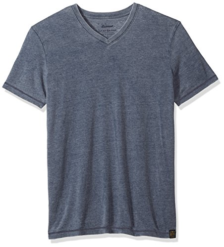 Lucky Brand Men's Venice Burnout V Neck Tee, American Navy, L