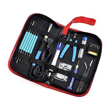 Kit de soldador 60W temperatura ajustable soldador eléctrico kit de soldadura herramienta de reparación conjunto con herramientas bolsa: Amazon.es: ...