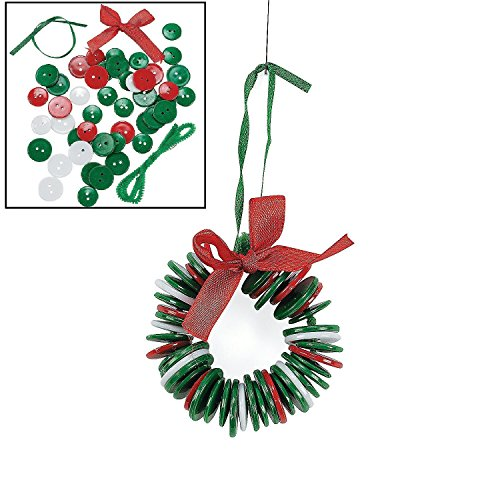 Button Wreath Ornament Craft Kit - Crafts for Kids & Ornament Crafts, Makes (Christmas Ornaments For Kids To Make)