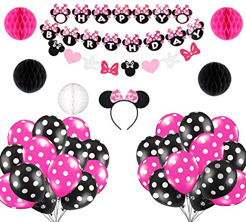 Minnie Mouse Birthday Party Supplies Decorations Minnie Mouse Cute Birthday Party Favors Banner Headband Balloon for Girls 1st 2nd 3rd Birthday Baby Shower Minnie Mouse Birthday Party Decorations]()