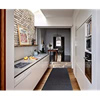 Ottomanson Ottohome Collection Solid Design Hallway Kitchen Runner Rug (Non-Slip) Rubber Backing Area Rug, 20' X 59', Black