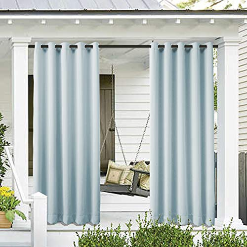 Cololeaf Outdoor Curtain for Patio Waterproof Grommet Top Thermal Insulated Blackout Outdoor Curtain Drape, Porch, Gazebo, Pergola, Cabana, Dock, Beach Home - Sky Blue 52W x 84L Inch (1 Panel) (All Weather Drapes)