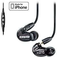 Shure SE215-K Earphones and CBL-M+-K-EFS Music Phone Cable with Remote + Mic