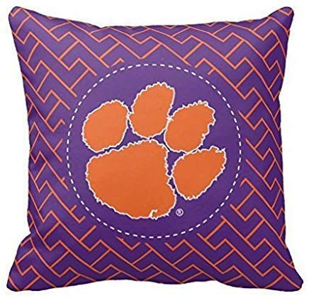 Clemson University Tiger Throw Pillow Case Cushion Cover Home Sofa Decorative