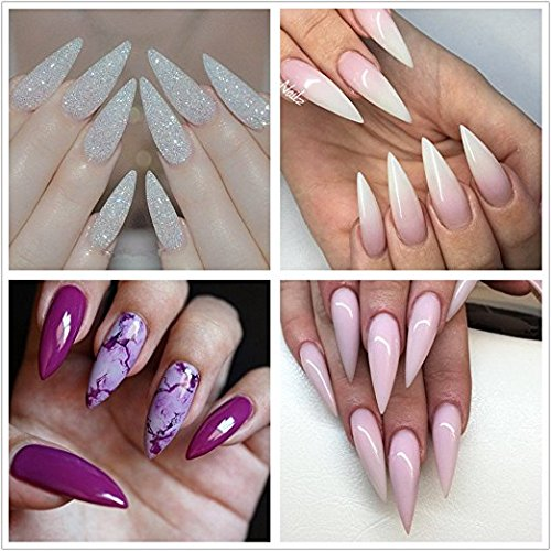 Babysbreath Clear Nail Tips Stiletto Nails Full Cover Uñas falsas Long Artificial Clavos Press On Nails Para Mujeres Niñas Con Caja: Amazon.es: Hogar
