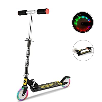 Moroly Kids Scooter with LED Light Up Wheels, 110lb Foldable Adjustable Height Kick Scooter for Boys and Girls, Rear Fender Break, 5lb Lightweight 2-Wheel Mini Push Scooter for Children Age 3-10 (Black) : Sports & Outdoors