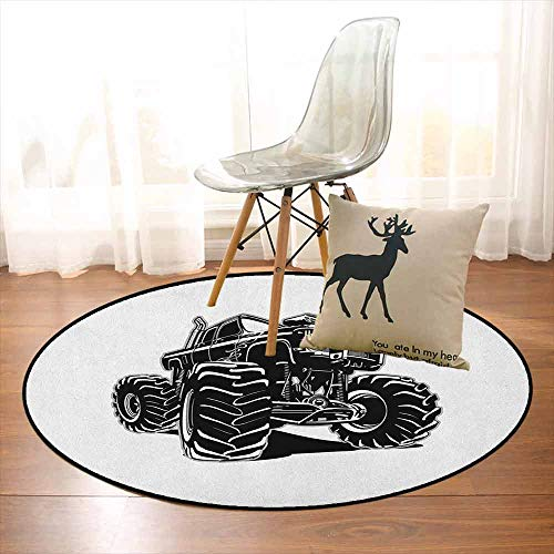 Truck Non-Slip Absorbent Carpet Modified Automobile Monochrome Sketch Pattern Monster Pickup Truck Off Road Vehicle for Floor Carpets D59 Inch Black White