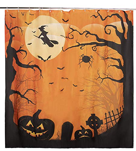 Juvale Halloween Shower Curtain - Bathroom Shower Decorations, Shower Curtain with 12 Plastic Hooks, Design Include Witch, Trees, Bats, Pumpkins - 72 x 72 Inches -