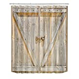 LB Farmhouse Barn Door Shower Curtain Polyester Fabric Vintage Rustic Bathroom Curtain 60x72 inch Bath Curtains Pale Yellow Birch Wood Z Anti Bacterial Waterproof with Hooks
