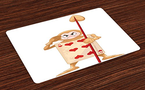 Ambesonne Alice in Wonderland Place Mats Set of 4, Card Soldier Heart Angry Queen Fiction Alice Design Fantastic, Washable Fabric Placemats for Dining Room Kitchen Table Decor, Ecru Pale Brown Red - Ecru Place Card