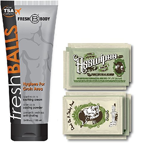 - Fresh Balls and ASSWIPES to Go Single Packets! with 15 Flushable Individually Wrapped Cleansing Hygiene Wipes with Vitamin E and Aloe Plus One Bottle of Fresh Balls Antiperspirant!