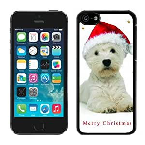 2014 Latest Christmas Cute White Dog Red Hat Black Plastic Iphone 5c,Apple Iphone 5c Cover Case