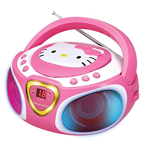 Hello Kitty Portable Stereo CD Boombox with AM/FM Radio, Speaker and LED Light Show plus iPad/MP3 Aux-in Jack (Disney Portable Radio)