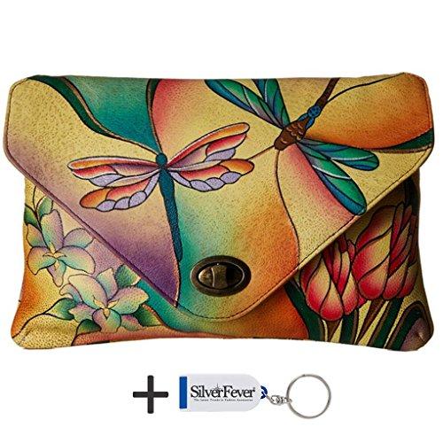 Anna by Anuschka Cross Body Handbag & Key Chain (E-W Dragonfly Glass Painting)