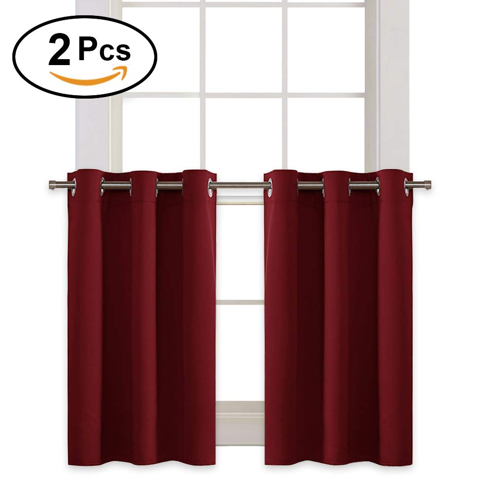 Burgundy Red Window Dressing Set - RYB HOME Decro Eyelet Top Plain Blackout Curtain Tiers / Valances for Dining Room / Kitchen, 42 inch Wide x 36 inch Long Each Panel,Burgundy Red, 2 Packs