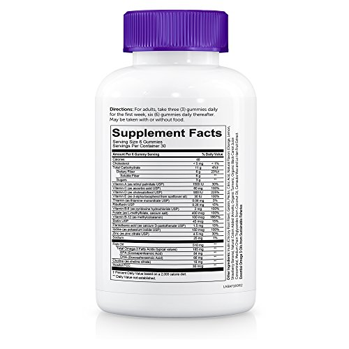 SmartyPants Adult Complete and Fiber Daily Gummy Vitamins: Multivitamin, Inulin Prebiotic Fiber, Omega 3 DHA/EPA Fish Oil, Folate (Methylfolate), Methyl B12, Vitamin D3, 180 count (30 Day Supply) by SmartyPants Gummy Vitamins (Image #5)