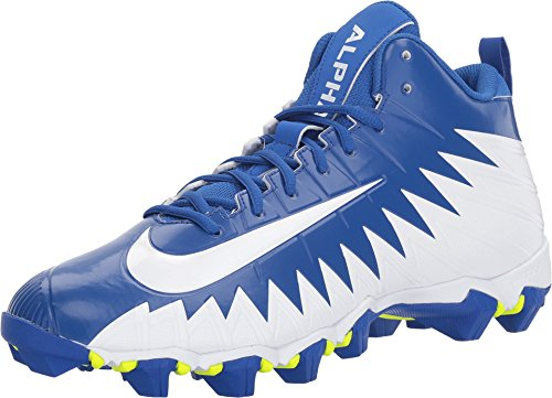 NIKE Men's Alpha Menace Shark Football Cleats (6.5, Blue/White)