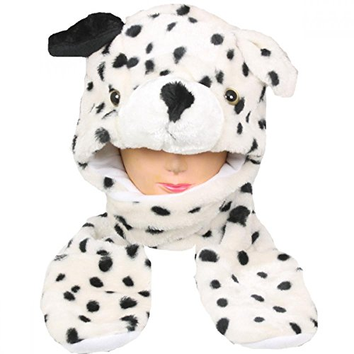 [Dalmatian dog_(US Seller)Plush animal hats with mittens Cap Earmuff Long] (Hulk Classic Infant Costumes)
